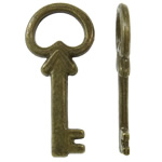 Alloy zink Pendants kyçe, Ngjyra antike bronz i praruar, asnjë, asnjë, , nikel çojë \x26amp; kadmium falas, 10x21.50x2mm, : 7x4mm, 2000PC/KG,  KG