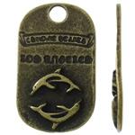 Pendants Zink Alloy, Alloy zink, Drejtkëndësh, Ngjyra antike bronz i praruar, asnjë, asnjë, , nikel çojë \x26amp; kadmium falas, 18x30.50x2.50mm, : 4mm, 230PC/KG,  KG