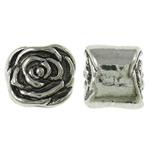 Beads European aliazh zink, Alloy zink, Lule, Ngjyra antike argjendi praruar, pa karrem, asnjë, , nikel çojë \x26amp; kadmium falas, 11x9x9mm, : 5mm, 320PC/KG,  KG