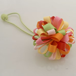 Bisht mbajtës, Saten Ribbon, with Gomë & Plastik, Lule, elastik, asnjë, multi-colored, 100x40mm, 30PC/Shumë,  Shumë