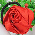 Bisht mbajtës, Saten Ribbon, with Gomë, Lule, elastik, asnjë, i kuq, 30x30mm, 3mm, 50PC/Shumë,  Shumë