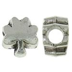 Beads European aliazh zink, Alloy zink, Pemë, Ngjyra antike argjendi praruar, pa karrem, asnjë, , nikel çojë \x26amp; kadmium falas, 9.50x11x7mm, : 4mm, 520PC/KG,  KG