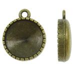 Zink-Legierung Cabochon Weissgold, Zinklegierung, flache Runde, antike Bronzefarbe plattiert, frei von Nickel, Blei & Kadmium, 16x20x5mm, Bohrung:ca. 1.5mm, ca. 260PCs/kg, verkauft von kg