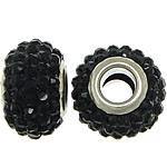European Harz Perlen, Rondell, Platinfarbe platiniert, Messing-Dual-Core ohne troll & mit Strass, schwarz, 9x15mm, Bohrung:ca. 5mm, 50PCs/Menge, verkauft von Menge