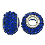 European Harz Perlen, Rondell, Platinfarbe platiniert, Messing-Dual-Core ohne troll & mit Strass, tiefblau, 9x15mm, Bohrung:ca. 5mm, 50PCs/Menge, verkauft von Menge