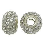 European Harz Perlen, Rondell, Platinfarbe platiniert, Messing-Dual-Core ohne troll & mit Strass, weiß, 9x15mm, Bohrung:ca. 5mm, 50PCs/Menge, verkauft von Menge