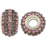 European Harz Perlen, Rondell, Platinfarbe platiniert, Messing-Dual-Core ohne troll & mit Strass & zweifarbig, 10x15mm, Bohrung:ca. 5mm, 50PCs/Menge, verkauft von Menge