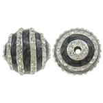 Strass Zinklegierung Perlen, rund, Platinfarbe platiniert, Emaille & mit Strass, frei von Nickel, Blei & Kadmium, 30mm, Bohrung:ca. 4mm, 5PCs/Tasche, verkauft von Tasche