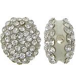 Harz Perlen Strass, flachoval, mit Strass, weiß, 13x15x8mm, Bohrung:ca. 2mm, 50PCs/Menge, verkauft von Menge