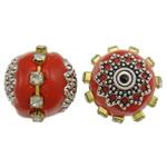 Indonesien Perlen, mit Messing & Zinklegierung, Trommel, plattiert, mit Strass, rot, 16x15mm, Bohrung:ca. 1mm, 100PCs/Tasche, verkauft von Tasche