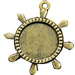 Zink-Legierung Cabochon Weissgold, Zinklegierung, Schiffsrad, antike Bronzefarbe plattiert, frei von Nickel, Blei & Kadmium, 40x35mm, Bohrung:ca. 2mm, Innendurchmesser:ca. 20mm, 100PCs/Tasche, verkauft von Tasche