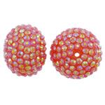 Harz Strass Perlen, Rondell, AB Farben platiniert, rot, 27x20mm, Bohrung:ca. 2mm, 10PCs/Tasche, verkauft von Tasche
