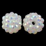 Harz Strass Perlen, Trommel, bunte Farbe plattiert, weiß, 14x12mm, Bohrung:ca. 2mm, 10PCs/Tasche, verkauft von Tasche