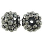 Harz Strass Perlen, Trommel, metallschwarz plattiert, 14x12mm, Bohrung:ca. 2mm, 10PCs/Tasche, verkauft von Tasche