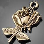 Zinklegierung Blume Anhänger, antike Bronzefarbe plattiert, frei von Nickel, Blei & Kadmium, 17x26mm, Bohrung:ca. 1.5-3mm, 500PCs/Tasche, verkauft von Tasche