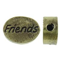 Zinklegierung flache Perlen, oval, Wort Freund, antike Bronzefarbe plattiert, Schwärzen, frei von Nickel, Blei & Kadmium, 11x9x4mm, Bohrung:ca. 1mm, 100PCs/Tasche, verkauft von Tasche