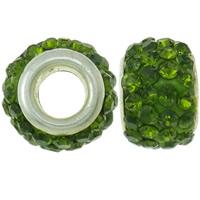 Strass Perlen European Stil, Ton, Trommel, Platinfarbe platiniert, Messing-Dual-Core ohne troll & mit Strass, apfelgrün, 8x12mm, Bohrung:ca. 4.5mm, 30PCs/Tasche, verkauft von Tasche
