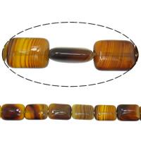 Natürliche Kaffee Achat Perlen, Rechteck, Streifen, 16x12x5mm, Bohrung:ca. 1mm, Länge:ca. 15 ZollInch, 10SträngeStrang/Menge, 24PCs/Strang, verkauft von Menge