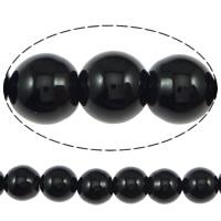 Natürliche schwarze Achat Perlen, Schwarzer Achat, rund, Klasse AB, 6mm, Bohrung:ca. 0.8-1mm, ca. 63PCs/Strang, verkauft per ca. 15.5 ZollInch Strang