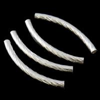 Messing Rohr Perlen, silberfarben plattiert, frei von Nickel, Blei & Kadmium, 6x35x3mm, Bohrung:ca. 2mm, 500PCs/Tasche, verkauft von Tasche