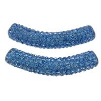 Strass Messing Perlen, Ton, mit Messing, Rohr, Platinfarbe platiniert, mit Strass, hellblau, frei von Nickel, Blei & Kadmium, 10x48mm, Bohrung:ca. 4mm, 10PCs/Tasche, verkauft von Tasche
