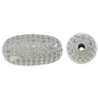 Befestigte Zirkonia Perlen, Messing, oval, Platinfarbe platiniert, Micro pave Zirkonia, frei von Nickel, Blei & Kadmium, 12x22mm, Bohrung:ca. 2mm, verkauft von PC