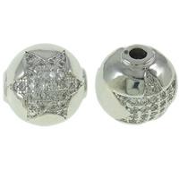 Befestigte Zirkonia Perlen, Messing, rund, Platinfarbe platiniert, mit einem Muster von Stern & Micro pave Zirkonia, frei von Nickel, Blei & Kadmium, 12x12mm, Bohrung:ca. 2mm, verkauft von PC