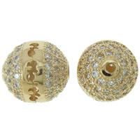 Befestigte Zirkonia Perlen, Messing, rund, Rósegold-Farbe plattiert, Micro pave Zirkonia & hohl, frei von Nickel, Blei & Kadmium, 9mm, Bohrung:ca. 1mm, verkauft von PC