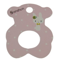 Hair Flower Display Card, Paper, Bear, Customized, pink, 41x50mm, 1000PCs/Bag, Sold By Bag