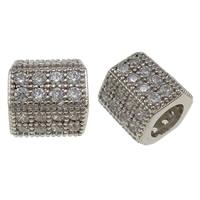 Befestigte Zirkonia Perlen, Messing, Trommel, Platinfarbe platiniert, Micro pave Zirkonia, frei von Nickel, Blei & Kadmium, 8x8mm, Bohrung:ca. 4mm, verkauft von PC