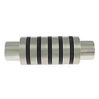 Edelstahl Magnetverschluss, Zylinder, plattiert, zweifarbig, 30x10mm, Bohrung:ca. 5mm, 10PCs/Menge, verkauft von Menge