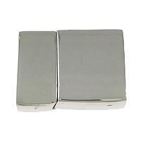 Edelstahl Magnetverschluss, Rechteck, originale Farbe, 33x24.70x9.80mm, Bohrung:ca. 21x6mm, Innendurchmesser:ca. 4mm, 5PCs/Menge, verkauft von Menge