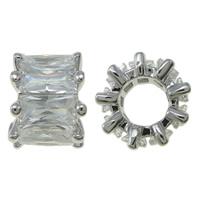 Kubischer Zirkonia Messing Perlen, Blume, Platinfarbe platiniert, mit kubischem Zirkonia, frei von Nickel, Blei & Kadmium, 9x6.5mm, Bohrung:ca. 4.5mm, verkauft von PC