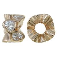 Kubischer Zirkonia Messing Perlen, Rósegold-Farbe plattiert, mit einem Muster von Herzen & mit kubischem Zirkonia, frei von Nickel, Blei & Kadmium, 12x7.5mm, Bohrung:ca. 4.5mm, verkauft von PC