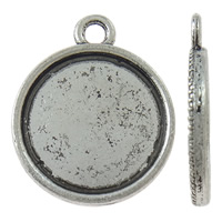Zink-Legierung Cabochon Weissgold, Zinklegierung, flache Runde, antik silberfarben plattiert, frei von Nickel, Blei & Kadmium, 16x19x1.50mm, Bohrung:ca. 2mm, ca. 1000PCs/kg, verkauft von kg