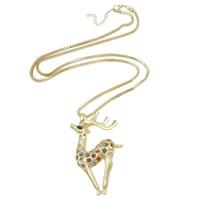 Zinklegierung Pullover Halskette, mit Kristall, Hirsch, Rósegold-Farbe plattiert, frei von Nickel, Blei & Kadmium, 45x75mm, Länge:ca. 26.5 ZollInch, ca. 3SträngeStrang/Menge, verkauft von Menge