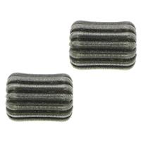 Edelstahlwell Beads, 304 Edelstahl, oval, metallschwarz plattiert, gewellt, 8x6mm, Bohrung:ca. 2mm, 100PCs/Menge, verkauft von Menge