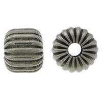 Edelstahlwell Beads, 304 Edelstahl, Trommel, metallschwarz plattiert, gewellt, 7x8mm, Bohrung:ca. 2.5mm, 100PCs/Menge, verkauft von Menge