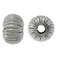 Edelstahlwell Beads, 304 Edelstahl, Rondell, gewellt, originale Farbe, 7x10mm, Bohrung:ca. 3mm, 100PCs/Menge, verkauft von Menge