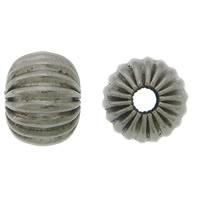 Edelstahlwell Beads, 304 Edelstahl, Rondell, metallschwarz plattiert, gewellt, 5x6mm, Bohrung:ca. 2mm, 100PCs/Menge, verkauft von Menge