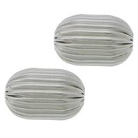 Edelstahlwell Beads, 304 Edelstahl, oval, gewellt, originale Farbe, 16x11mm, Bohrung:ca. 3mm, 100PCs/Menge, verkauft von Menge