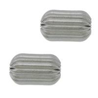 Edelstahlwell Beads, 304 Edelstahl, oval, gewellt, originale Farbe, 7x5mm, Bohrung:ca. 1.8mm, 100PCs/Menge, verkauft von Menge