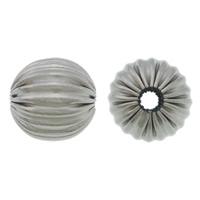 Edelstahlwell Beads, 304 Edelstahl, rund, gewellt, originale Farbe, 12mm, Bohrung:ca. 2.5mm, 100PCs/Menge, verkauft von Menge