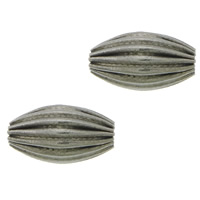 Edelstahlwell Beads, 304 Edelstahl, oval, gewellt, originale Farbe, 10x6mm, Bohrung:ca. 1.5mm, 200PCs/Menge, verkauft von Menge