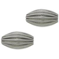 Edelstahlwell Beads, 304 Edelstahl, oval, gewellt, originale Farbe, 8x4.50mm, Bohrung:ca. 1.5mm, 200PCs/Menge, verkauft von Menge