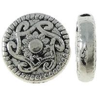 Zinklegierung flache Perlen, flache Runde, antik silberfarben plattiert, frei von Nickel, Blei & Kadmium, 10x3mm, Bohrung:ca. 1.5mm, ca. 905PCs/kg, verkauft von kg