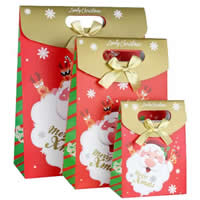 Paper Christmas Gift Bag, with Satin Ribbon, different size for choice, multi-colored, 12PCs/Bag, Sold By Bag