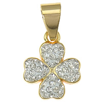 Rhinestone Clay Pave Pendants, Brass, Four Leaf Clover, plated, Customized, more colors for choice, lead & cadmium free, 14x26x4mm, Hole:Approx 5x8mm, Sold By PC