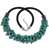 Synthetic Turquoise Necklace, with Nylon Coated Rubber Rope & Glass Seed Beads, brass lobster clasp, with 1.2lnch extender chain, Chips, platinum color plated, 5mm, 18mm, Sold Per 19-20.5 Inch Strand