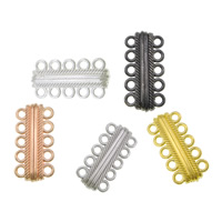Zinc Alloy Magnetic Clasp, Tube, plated, 5-strand, more colors for choice, cadmium free, 17x33x8mm, Hole:Approx 3mm, Sold By PC